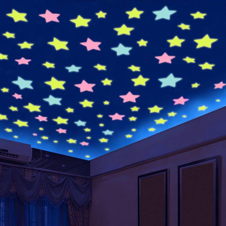 glow in dark stars room decor colourful stars kids room etsy rh etsy com