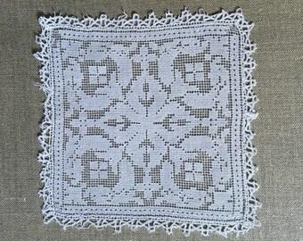 DOILY vintage off-white square 19 cm x 19 cm pièce unique
