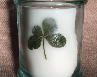 """""""Luck"""" Cedar candle fragrance extracts, recycled glass, genuine 4 leaf clover"""