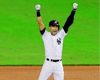 Derek Jeter Celebrates his Game Winning Walk-off Single Final Game at Yankee Stadium 8x10 Photo