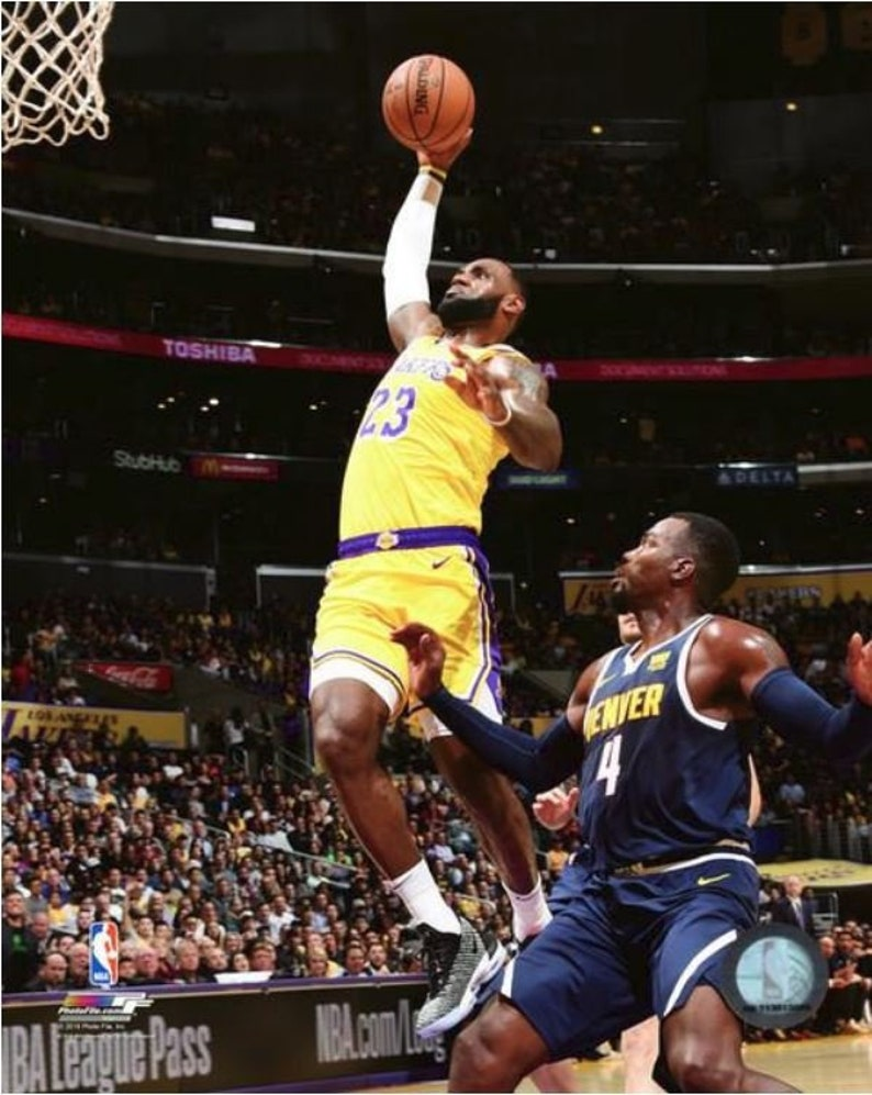 43309d4f2f4d6 Lebron James Dunk LA Los Angeles Lakers Authentic Licensed 8x10 Photo