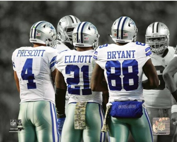 Dak Prescott Ezekiel Elliott Dez Bryant Dallas Cowboys Spotlight 8x10 Photo