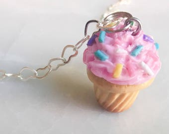 Polymer Clay Charm -- Pink Cupcake Necklace -- Mini Dessert Chain -- Best Friend Necklaces