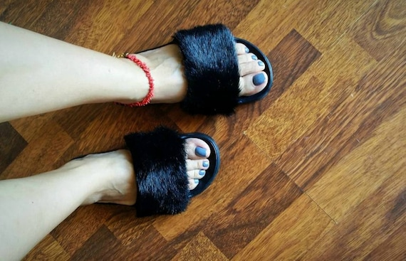 Handmade slippers sandals shoes women Summer summer slippers slides Fashion sandals fur Flat Slides Faux slides Fluffy Black BpqwF