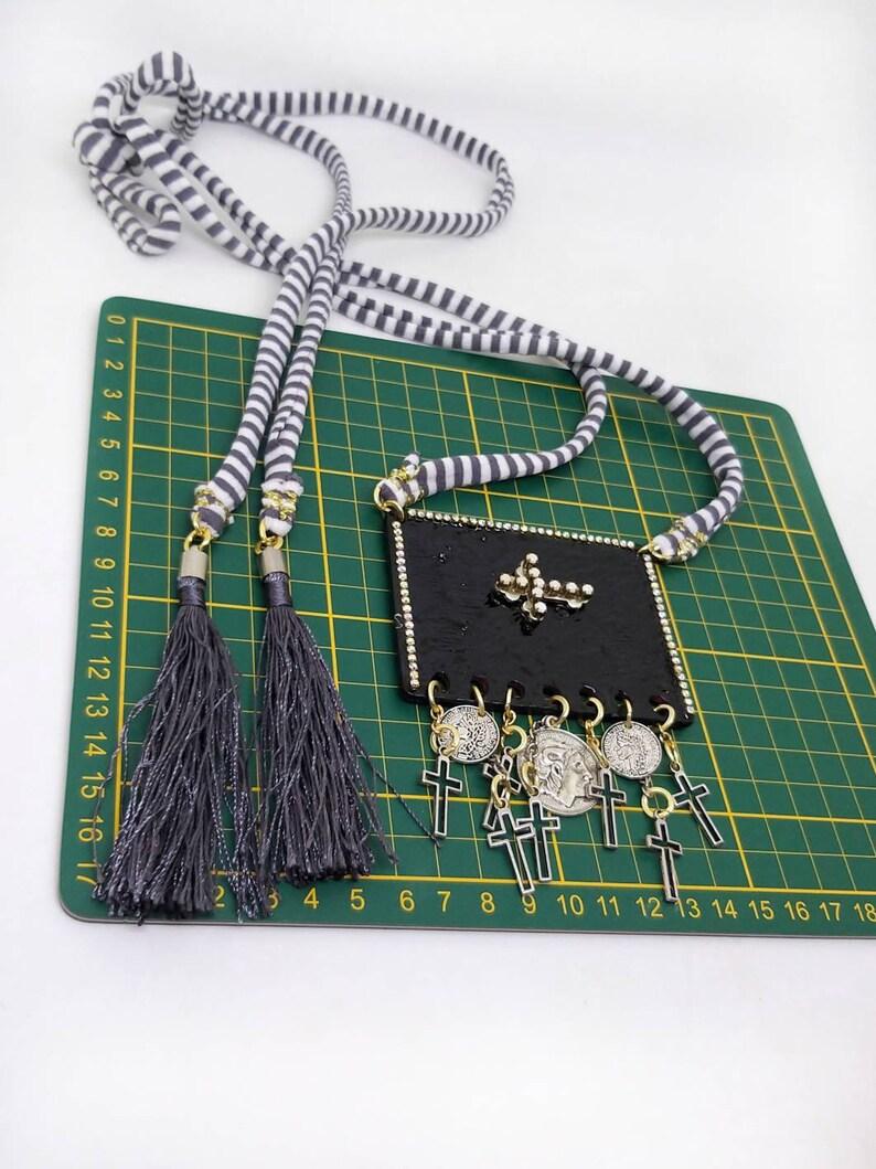 Coins necklace. Cross necklace Bohemian necklace Black necklace Statement necklace Charm necklace