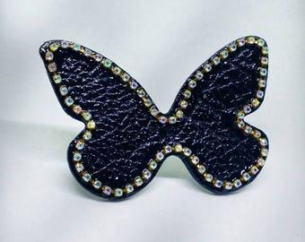 Brooch. Butterfly brooch. Leather brooch. Black brooch. Handmade brooch. Limited edition brooches. Crystal rhinestone brooch.