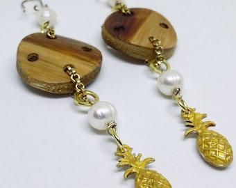 Earrings. Dangle earrings. Statement earrings. Pineapple earrings. Gold earrings. Fresh water pearls. Handmade earrings.