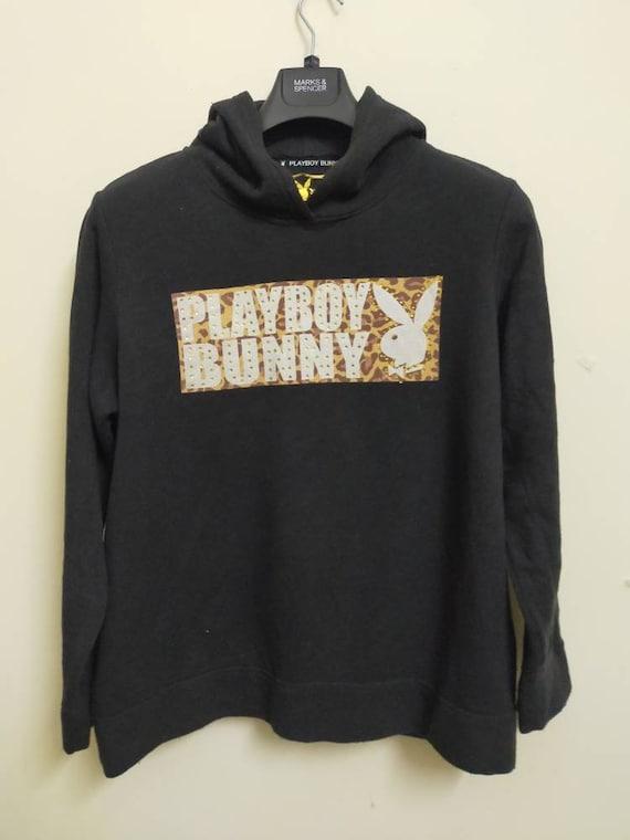 Vintage PLAYBOY BUNNY Monogram Big Logo Blue Crewneck Sweatshirt Sweater Jumper Pullover Playmate Magazine