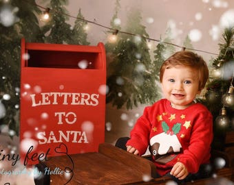 wood letter box on legs letters to santa mailbox christmas photography prop handmade baby studio prop
