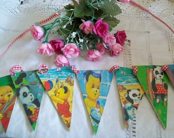 Sooty and Sweep Wooden Bunting / garland vintage style 1960s pictures handmade Story Book / Treasure Bag and Sooty and Sweep Soft Beany Toys