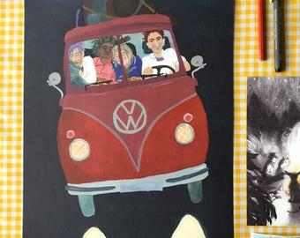Volkswagen, Affordable Art, Gig Poster, Classic Volkswagen Bus, Gift for Him, Vintage VW Bus, Red VW Bus, Housewarming Cadeaus