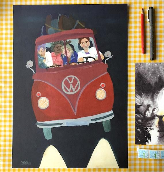Labor Day Sale Volkswagen Bus Affordable Art Gig Poster Etsy