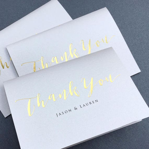 fdc1088a05590 Gold Foil Thank You Note Card Set of 10 / Calligraphy Real Gold Foil Thank  You Cards / Folded Shimmer Note Cards - Set of 10 Cards - T389