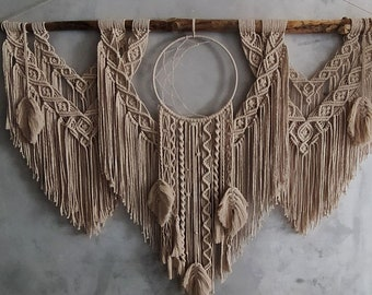 Large Macrame Backdrop with Dream catcher, Extra large Macrame Wall Hanging with feathers, Macrame Mural, Hanging wall decor, Nursery Decor