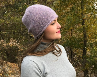 a6eb7a07755 Lavender beanie for women   Cable knitted hat   Christmas Gift for Woman    Wool knit hat   Soft hat for winter   Knit hat for girl