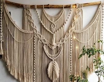 Large Macrame Backdrop, Extra large Macrame Wall Hanging with tassels, Macrame Mural, Hanging wall decor, Housewarming