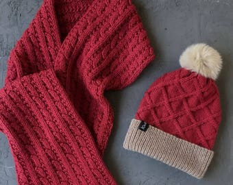 Hat and Scarf Set, Gift for Wife, Winter Wool Hat and Scarf Set, Red Knit Scarf and Hat, Wool Scarf and Hat with Pom