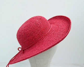 79966dec Red beach hat, summer hats, wide brim hat, floppy hat, wide brim straw hat,  womens hats, sun hats for women, fedora hats, gift for party