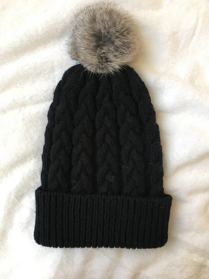 e9a073cb630 Black Wool Hat Turn Up Beanie Wool Knit hat with Pom