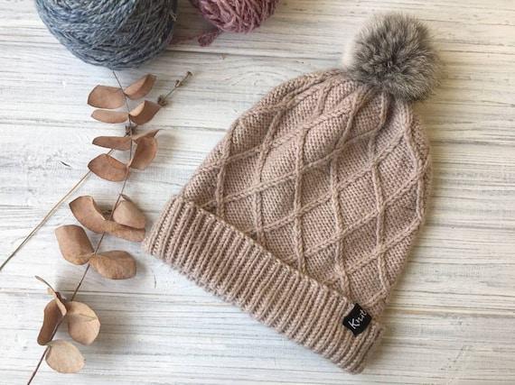 47f20d3989b45 Beige Beanie Hat Fur Pom Pom Hat Merino Wool Hat Turn Up