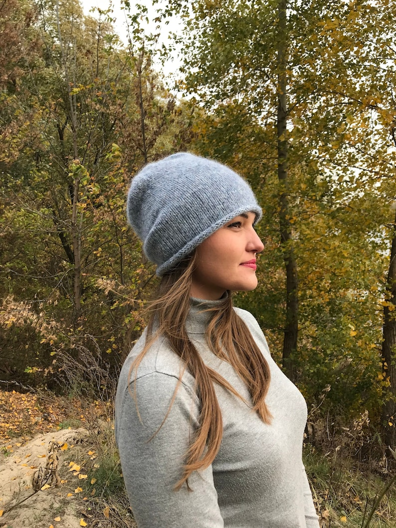 06dea902c0d Fog Grey beanie for women   Wool knit hat   Cable knitted hat
