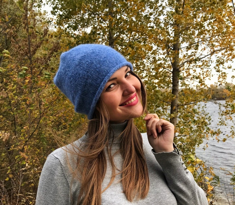 c33dcfca1a6 Blue beanie for Woman   Hand knit wool hat   Christmas gift