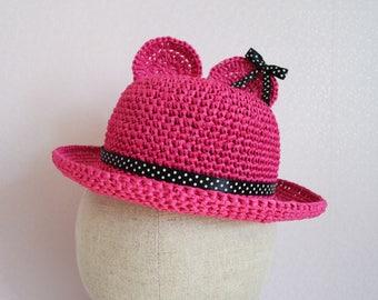 Summer Girls hats Crochet hat Girls Bow hat baby girl hats girls sun hat wide brim hat sun hat Kids hats Kids gift girl gifts baby gift