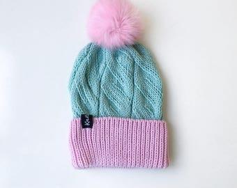 Gift for Girlfriend | Wife Winter Pom Pom Hat, Ready to Ship, Knit Hat with Pom, Women Winter Hat, Beanie Hat with Pom
