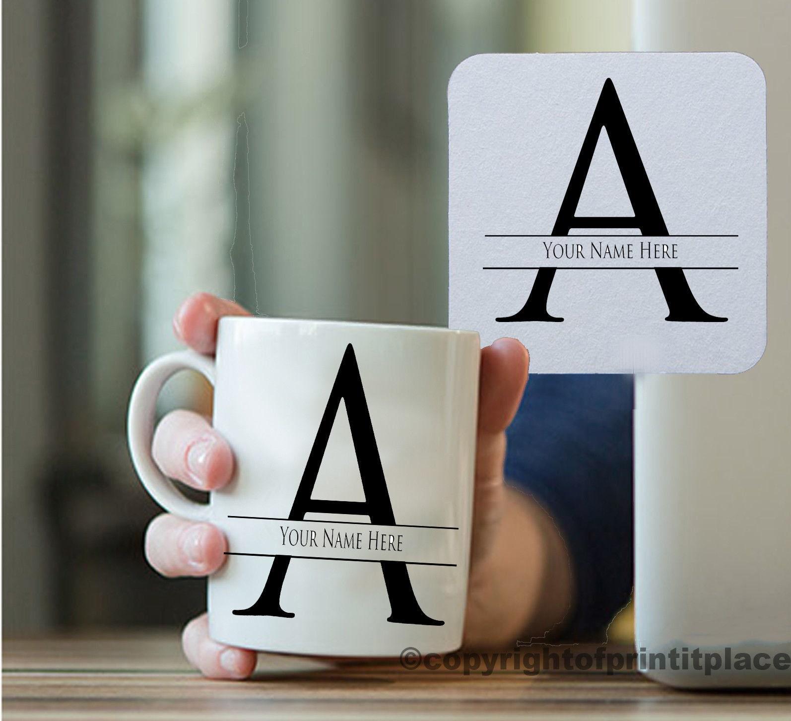 Alphabet Letter A Z Personalised Initial Tea//Coffee Mug Coaster 10//15oz// Magic