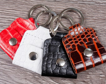 10 pc Genuine Leather Pound Coin Keyring  Guitar Pick holder  SD card holder  Mini wallet keychain with personalized  customize option