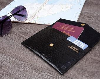 Passport Holder Deluxe Leather Croc Print Envelope Style ,Travel wallet,  I.D Wallet, Travel Documents