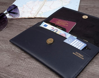 Deluxe Leather Travel Documents Wallet, Travel Organizer wallet , Passport holder Real Leather