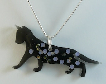 Black cat resin necklace with tiny blue and silver gems, comes with silver plated snake chain
