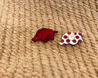 Arkansas Razorback earrings studs, Razorback earrings, UofA earrings, hogs