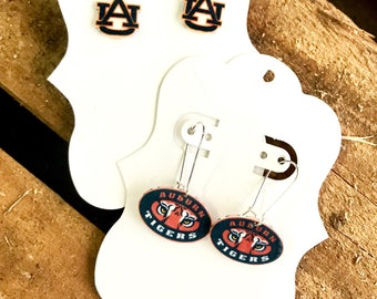 Auburn tigers earrings, Auburn University, studs, dangle