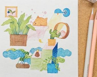 Cat Art Print, cat artwork, cat decor, cat poster, cat gifts, cute cat, cute print, cat lover gift, wall art for home, cat lady gifts, A5