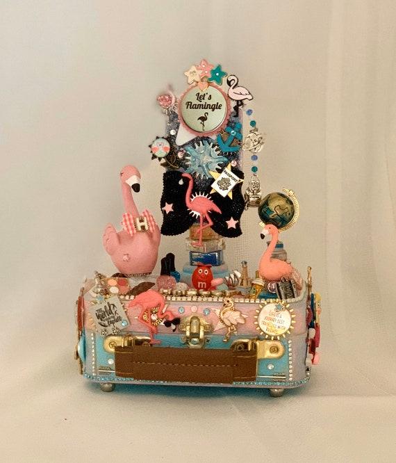 Flamingo Jewelry Box Gift Flamingo Jewelry Box Flamingo Decor Beach Scene Trinket Box