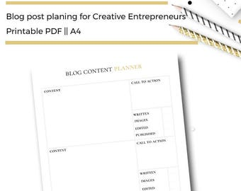 Blog Post Planner Printable A4 Insert. Blog Content Planner for Bloggers & Business Owners.