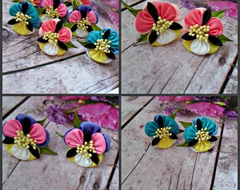 Viola tricolor flower hair clip.Kanzashi Flowers.Set of 2 hair clips or ponytail holders.Shades of purple,coral,blue.Purple pansy hair piece