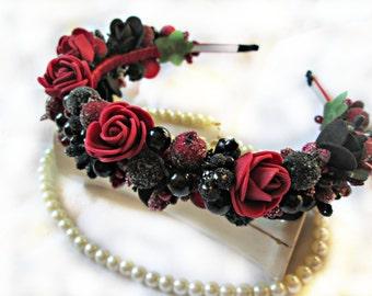 Red Rose Flower Crown,flower crown,Black rose headband,Burgundy and black hair crown,Floral crown, Rose crown,Rose Flower hoop