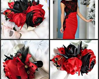 Rose hair clip,a bouquet of roses, Bobby pin,flower hair clip,red and black rose crocodile clip, rosebud hair accessories black hair clip
