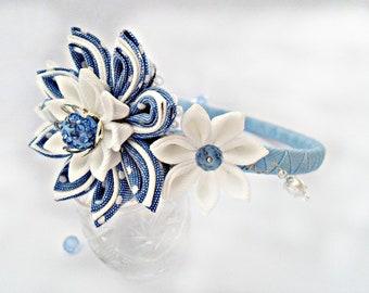 Kanzashi. Kanzashi Fabric Flowers.Kanzashi Fabric Flower headband.Many different colors.Bead of Shamballa. Crystal bead.