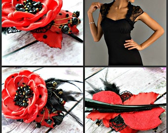 red and black flower clip,hair clip,flower barrette,flower hair clip,red  barrette with black feathers,hair accessories, black crystal