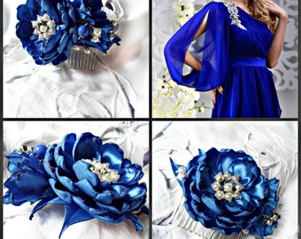 Flower Bridal comb, Flower comb, Floral arrangement with pearls Wedding comb, Blue and white comb, Flower comb for bride, The decoration