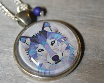 Origa-Wolf - glass cabochon necklace