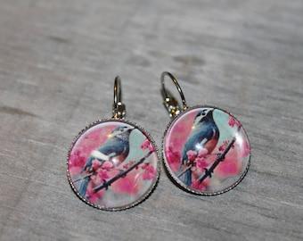 Bird cherry - round earrings in silver tone metal.