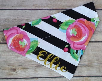 Personalized Bandana / Glitter Dog Bandana / Floral Dog Bandana / Floral Bandana / Striped Dog Bandana / Name Dog Bandana / Over the Collar