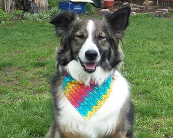 Chevron Dog Bandana / Chevron Cat Bandana / Colorful Dog Scarf / Dog Bandana / Cat Bandana / Over the Collar / Boy Dog Bandana / Girl Dog