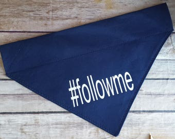 Dogs of Instagram Dog Bandana / Follow Me Dog Scarf / Hashtag Cat Bandana / Navy Pet Bandana / Over the Collar / Blue Dog Neckerchief