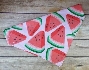 Pink Watermelon Dog Bandana / Food Neckerchief / Summer Cat Bandana / Girl Fruit Dog Scarf / Pet Bandana / Over the Collar / Dog Lovers Gift